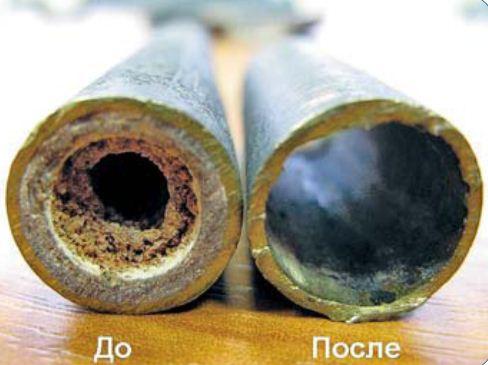 На фото наглядно видна польза очистных работ, которые производились в отопительном трубопроводе