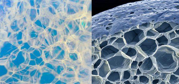 На макрофото видно, что пенопласт состоит из наполненных воздухом закрытых ячеек.
