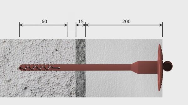 На рисунке показан алгоритм расчета длины дюбеля, исходя из толщины пенопласта и клеевого слоя