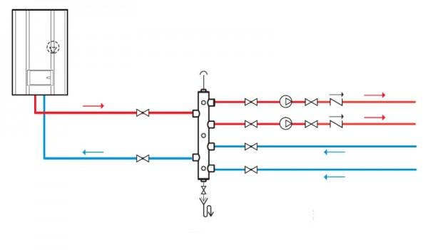 На врезках каждого из контуров будут свои значения температуры и перепада. Впрочем, при наличии в контурах собственных насосов перепад можно не учитывать.