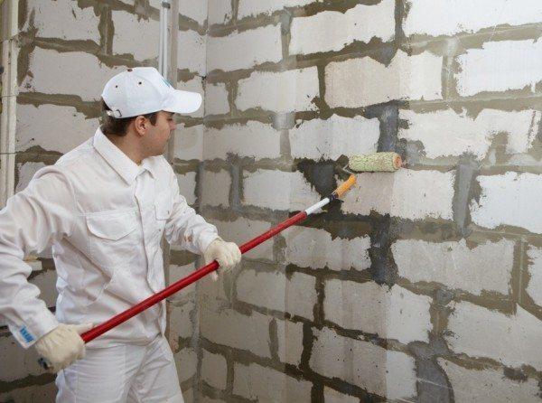 Обработка стен антигрибковым средством