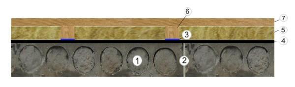 Отверстия в плитах перекрытия замазанные раствором.