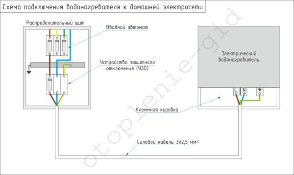 Предложенную схему можно использовать для подключения к электросети водонагревателей любого типа.