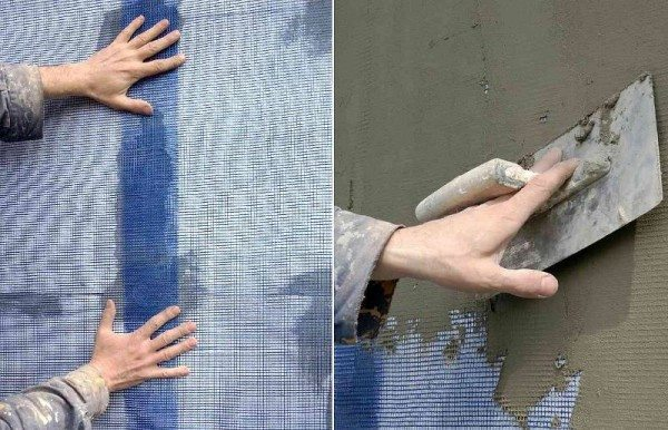 Приклеивание сетки к стене