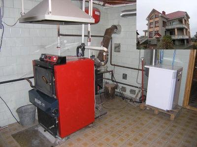 Пример отопительного котла для дома на твердом топливе.