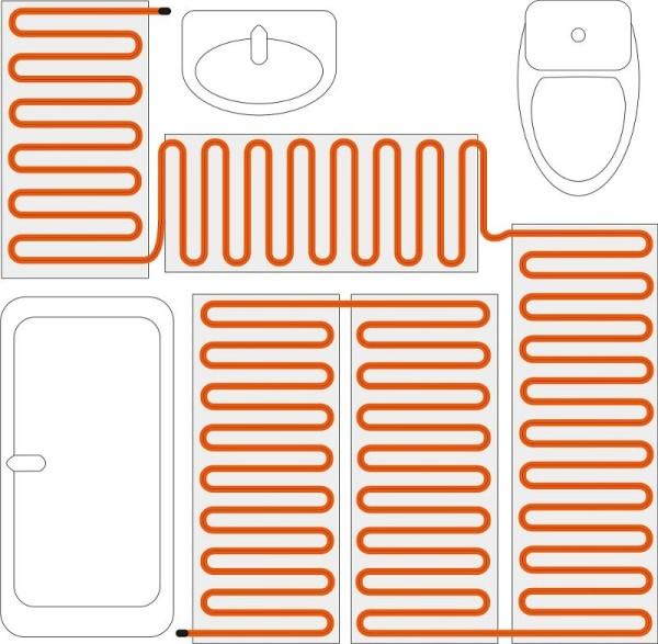 Пример укладки кабелей в санузле