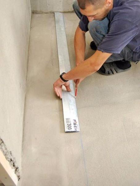 Пример выполнения разметки на полу для монтажа каркаса