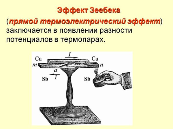 Принцип работы термопары: при нагреве одного из двух соединенных вместе разнородных проводников между ними возникает электрическое напряжение.