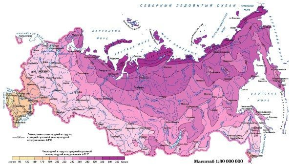 Продолжительность отопительного сезона в вашем регионе можно найти на этой карте. Отопление включается при падении температуры воздуха ниже +8 и выключается при нагреве выше +8.