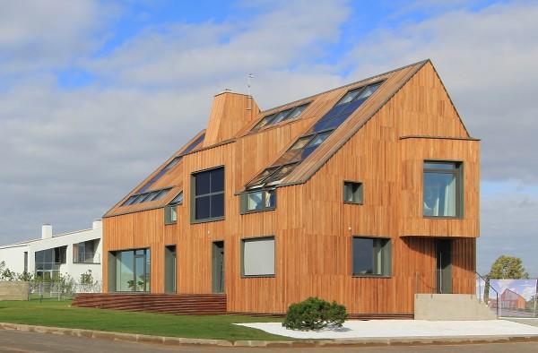 Проект энергоэффективного здания. Дом спланирован так, чтобы использовать максимум солнечного тепла и минимизировать теплопотери через стены.