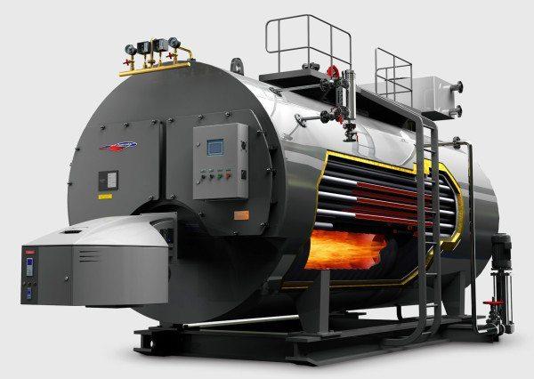 Промышленный жаротрубный котел. При мощности в несколько мегаватт он может отапливать крупное предприятие или небольшой микрорайон города.