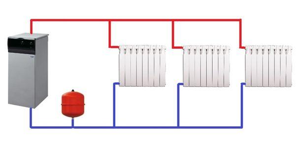Простейшая двухтрубная схема для одноэтажного дома.
