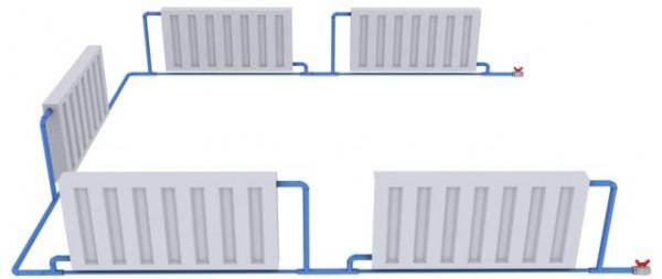 Расчет диаметров труб отопления и количества батарей. Схема.