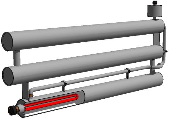 Секционный теплообменник с нагревательным элементом.