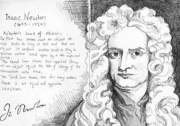 Сэр Ньютон осуждает тех, кто прогуливал физику.
