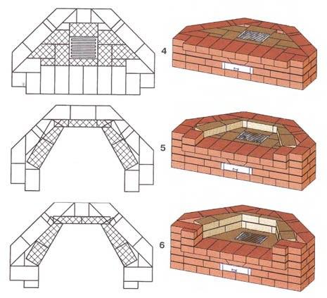 Схема первой кладки углового камина