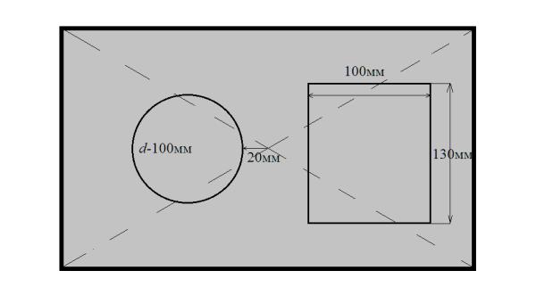 Схема расположения трубы-горелки и люка под горловину бака