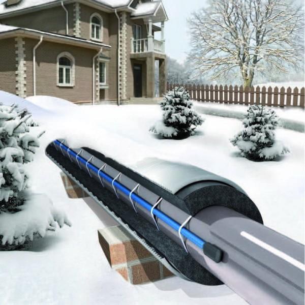 Схема установки теплового кабеля на наружный участок трубы