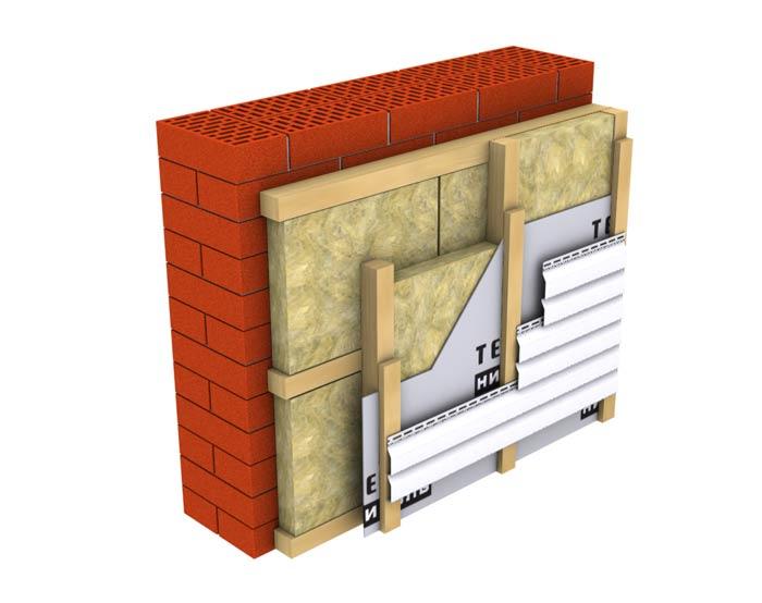 Схема утепления стен в два слоя