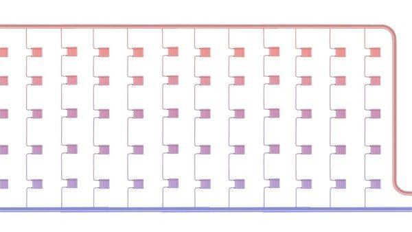 Схема верхнего розлива в пятиэтажном доме. Подача проложена по чердаку.