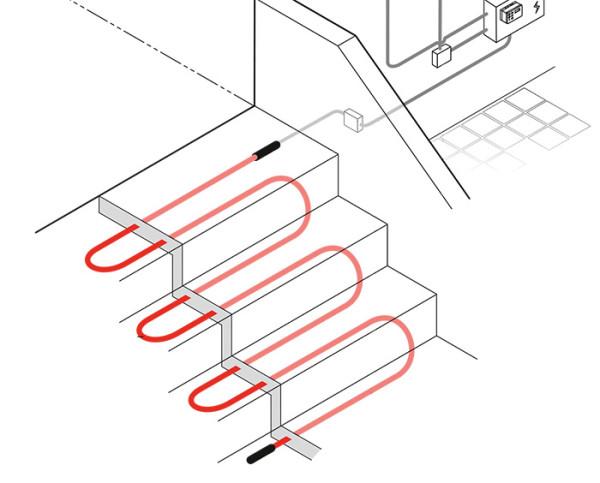 Систему можно монтировать и на открытом воздухе. Например, для растапливания снега и льда на ступеньках