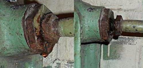 Слева - исходное положение, справа - согнанная по резьбе контргайка.