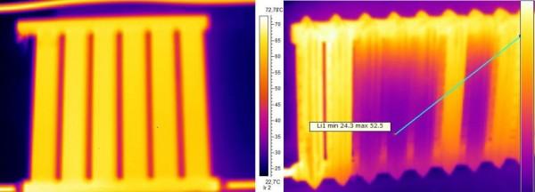 Слева термограмма вакуумного радиатора, справа – обычного с воздушными пробками