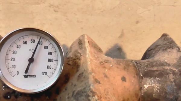 Средняя температура нагрева радиатора в самой высокой точке