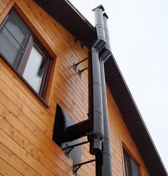 Тройник на дымоходе не дает конденсату стекать к горелке котла.
