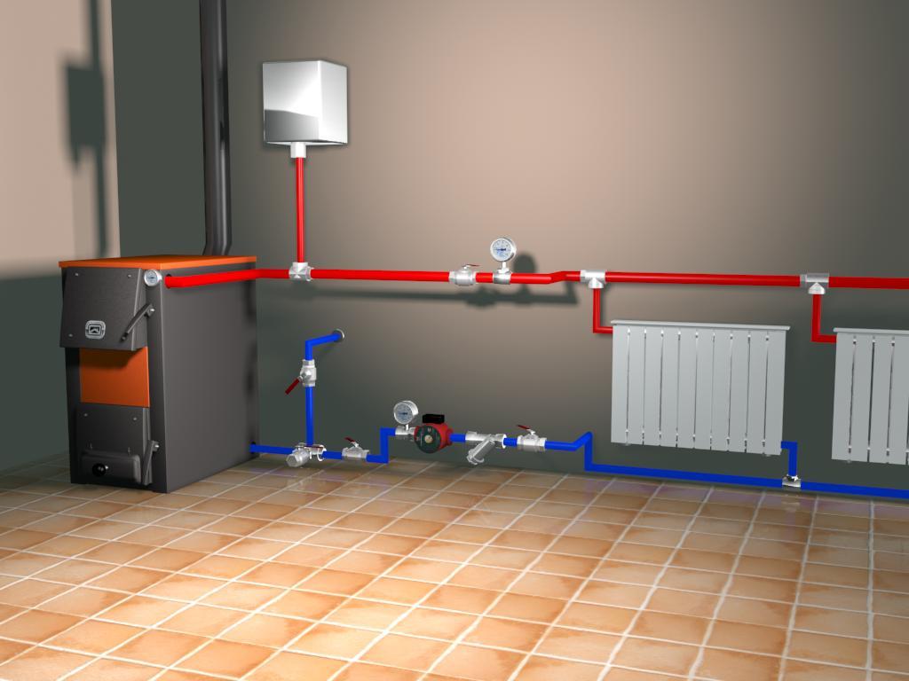 схема отопления котел на твердом топливе и электрокотел