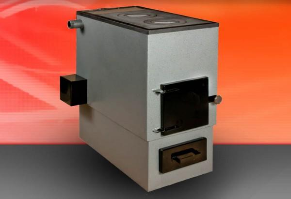 Устройство на фото способно обогреть дом, используя дрова или уголь. Заодно оно выполняет функцию варочной плиты.