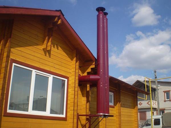 Вариант исполнения дымохода для АГВ в частном доме