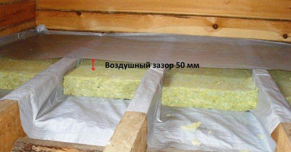 Верхний слой изоляции защищает материал от влаги из помещения
